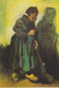 woman sweeping.van gogh